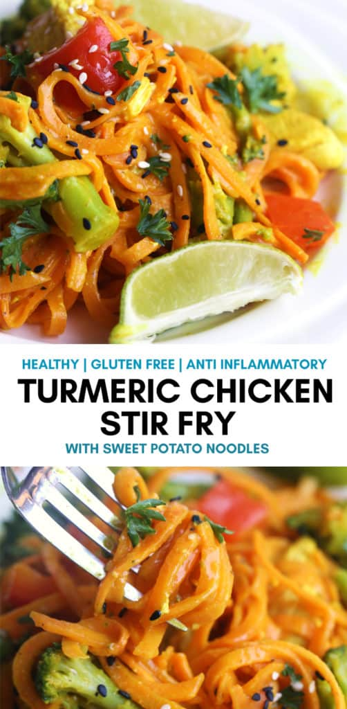 Turmeric Chicken Stir Fry with Sweet Potato Noodles. This healthy dinner is not only gluten free, Whole30, and diary free but also has the health benefits of low histamine diet and anti inflammatory. Perfect for those with chronic hives and inflammatory problems. #chickenstirfry #sweetpotatonoodles #zoodles #lowhistamine #whole30