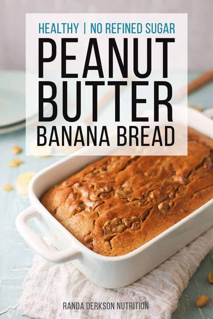 Healthy peanut butter banana bread in a loaf pan cooling.