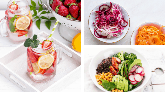 Healthy recipe ideas from Randa Derkson. Spa water, zoodles and a healthy salad bowl.