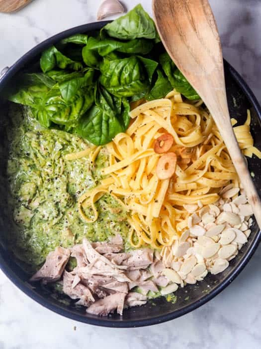 Pesto Chicken Pasta with Sliced Almonds and Garlic Chips