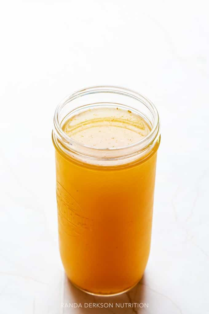 bone broth in a glass mason jar made in a ninja foodi