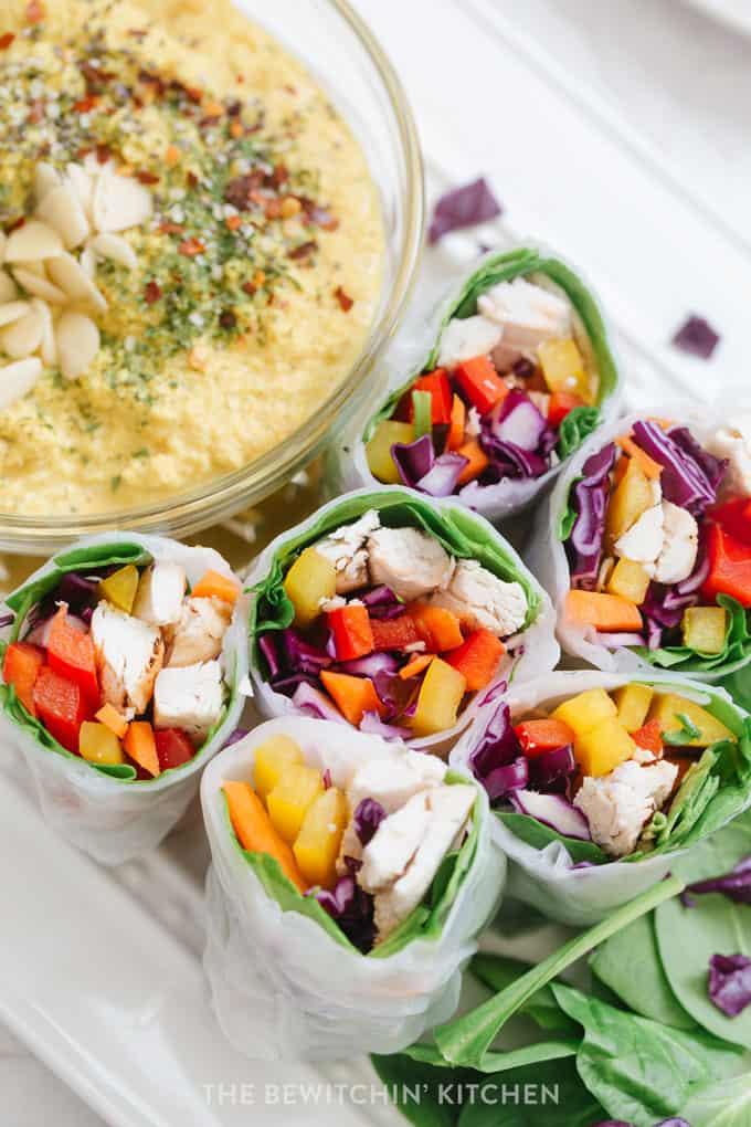 healthy chicken spring rolls with deli chicken