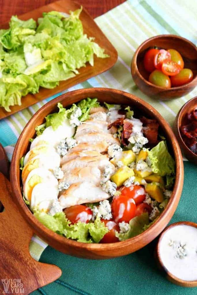 healthy cobb salad recipe made with rotisserie chicken