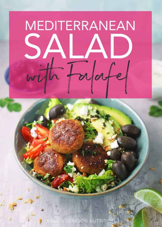 mediterranean salad with falafel plant based protein