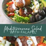creamy mediterranean salad dressing over falafel and greens.