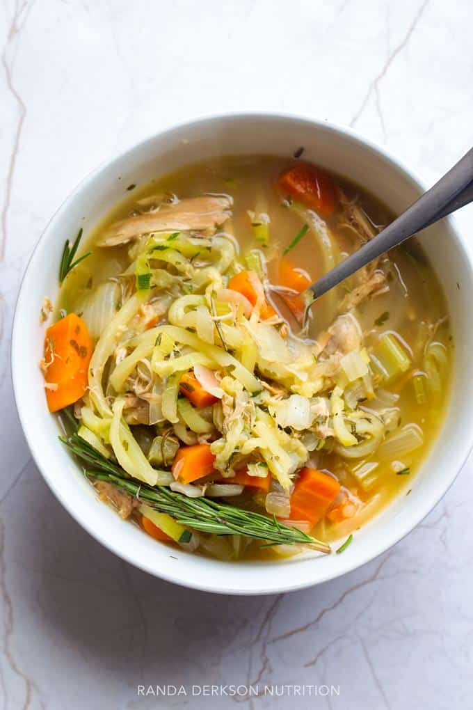 spiralized vegetables in soup