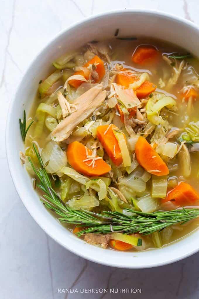 Healthy zucchini noodle soup