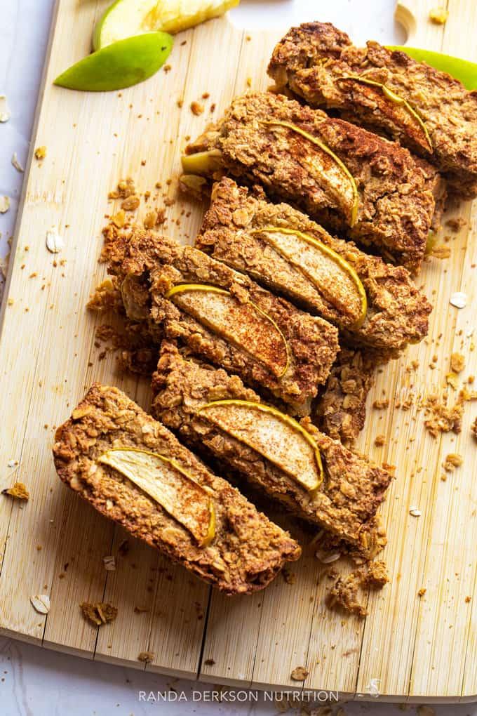 gluten free apple bread on a cutting board