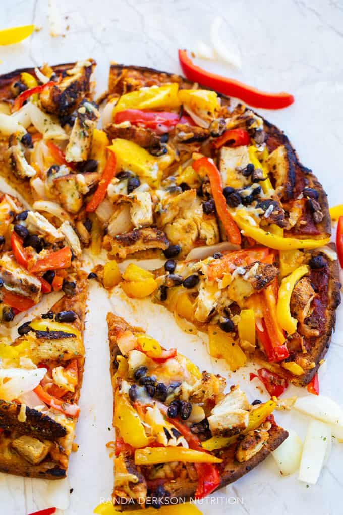 healthy pizza recipe with a slice missing