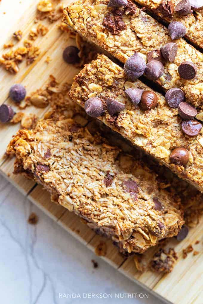sliced peanut butter breakfast bars