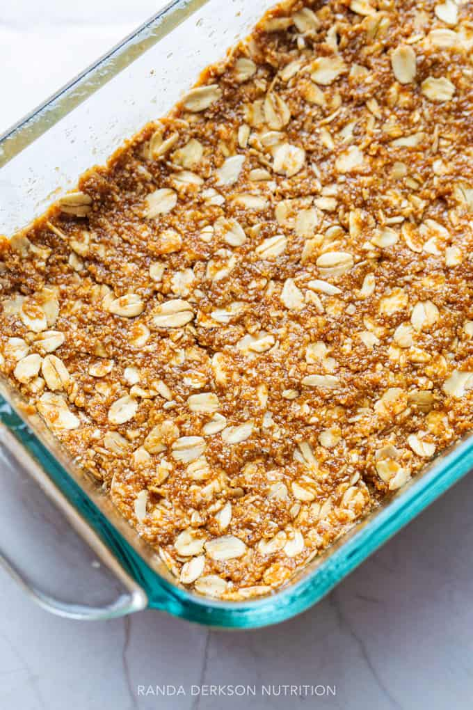 tip to make pumpkin oatmeal bars is to press the mixture into the pan firmly