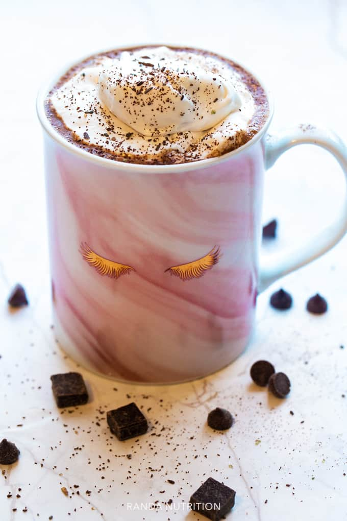 healthy hot chocolate with coconut whipped cream