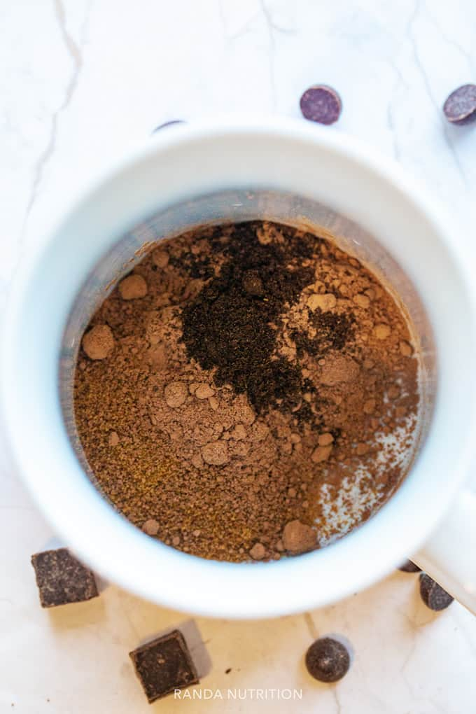 homemade hot cocoa mix in a mug ready for water