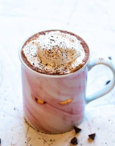 homemade hot cocoa in a pink glam mug