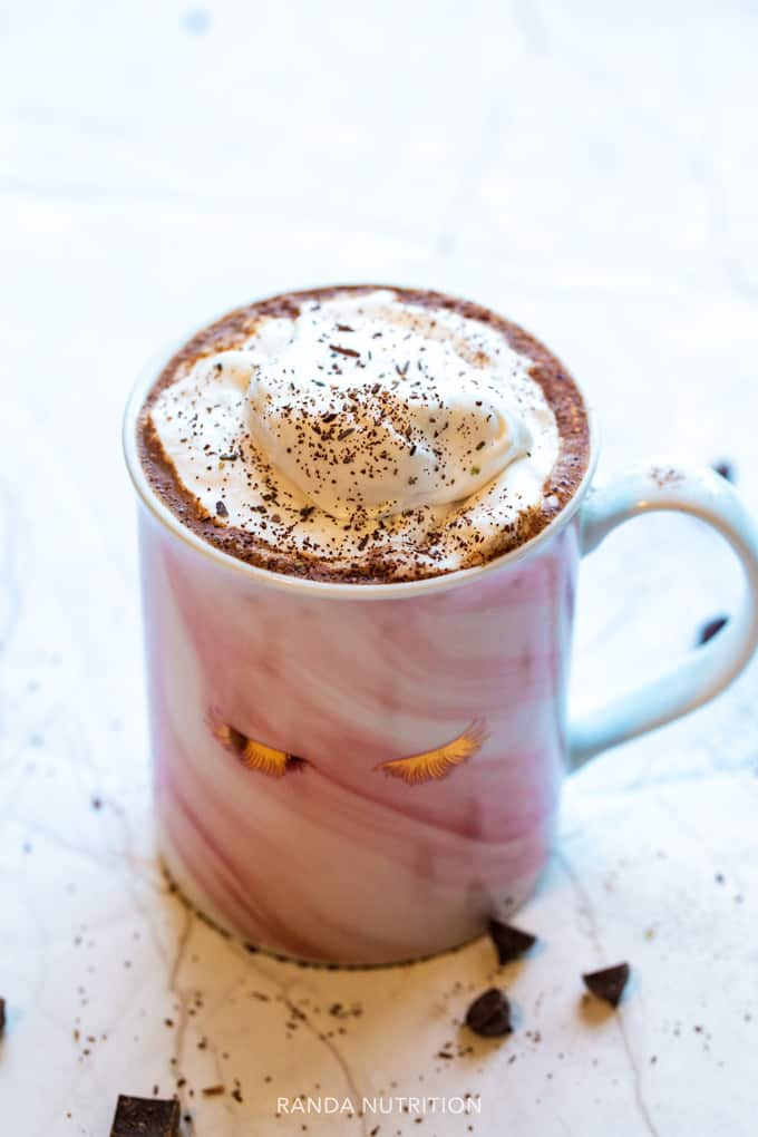 homemade hot cocoa in a pink glam mug