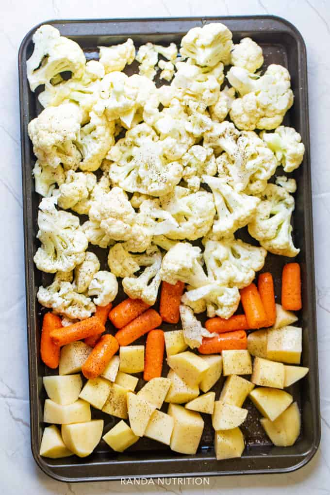 roasting cauliflower, carrots, and potatoes for soup