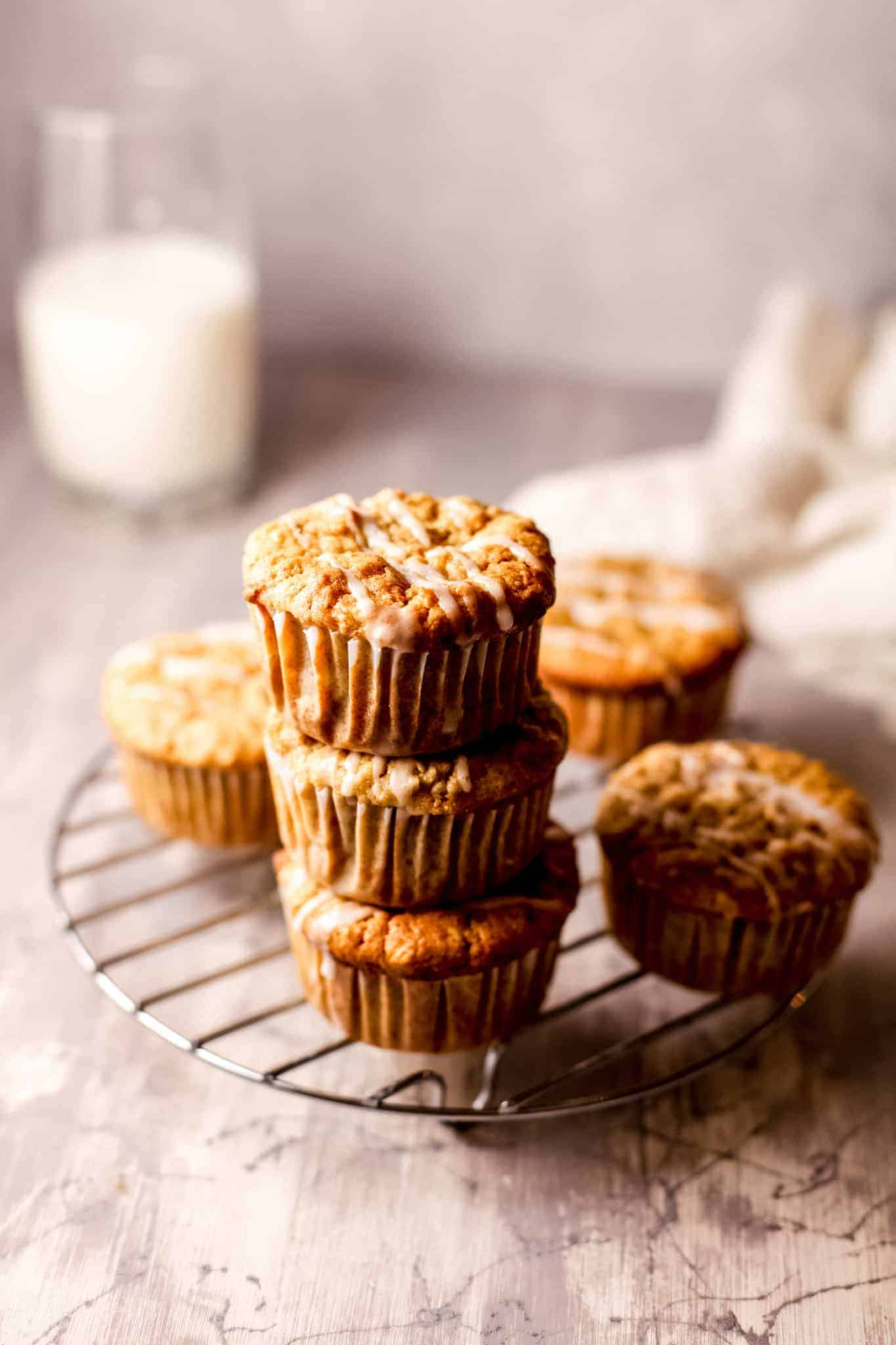 healthy gluten free apple muffins stacked on each other