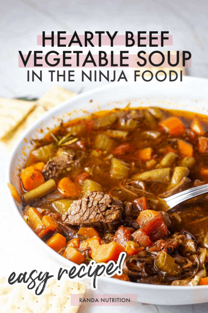 healthy beef vegetable soup made in the Ninja Foodi