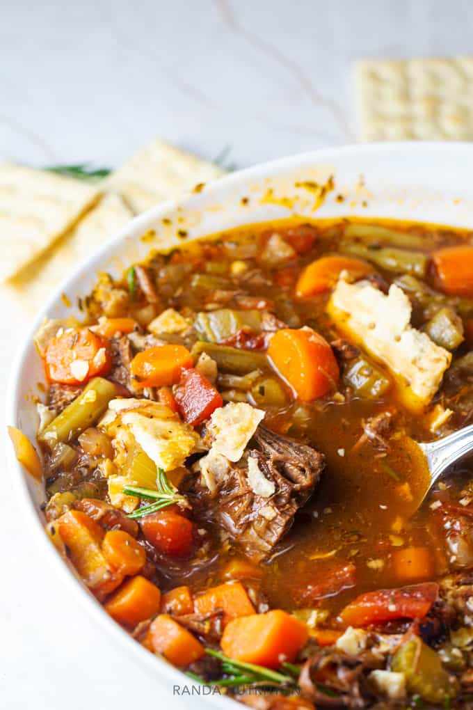 Pot Roast Soup in a bowl with crackers