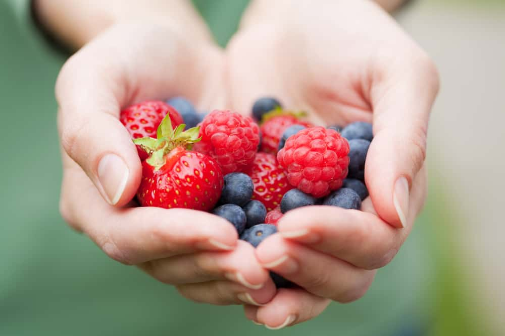 A hand cupped and full with berries that are good for brain health
