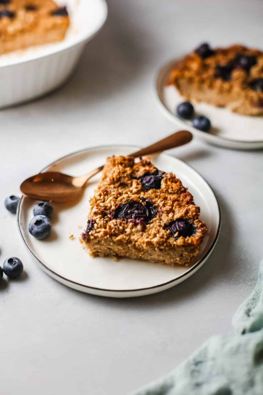 oven baked oatmeal with blueberries on top