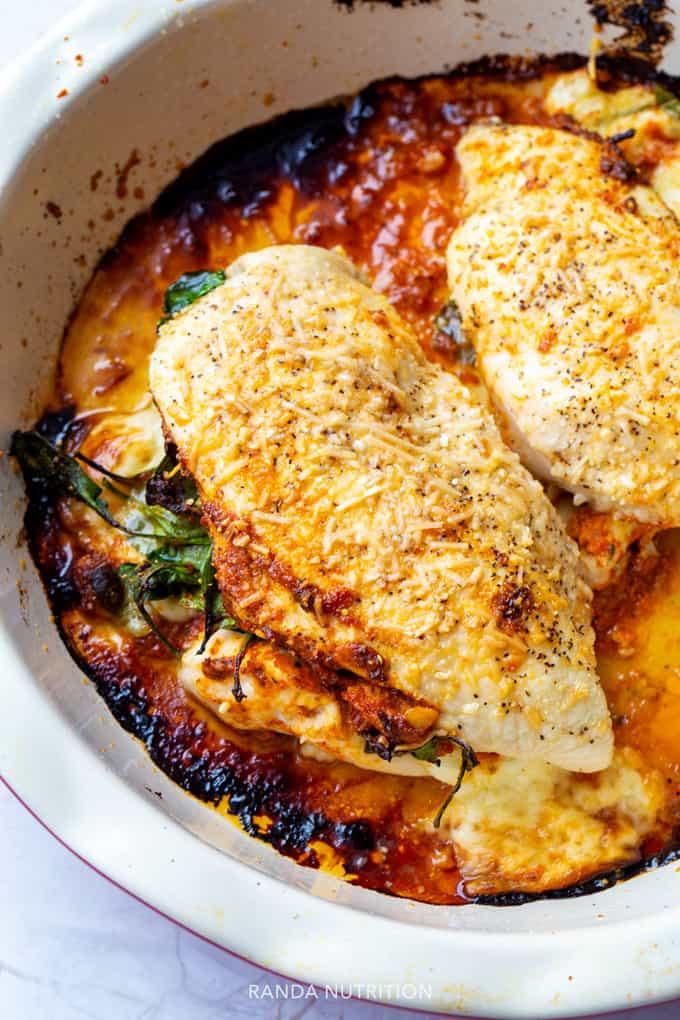 Mozzarella stuffed chicken breast