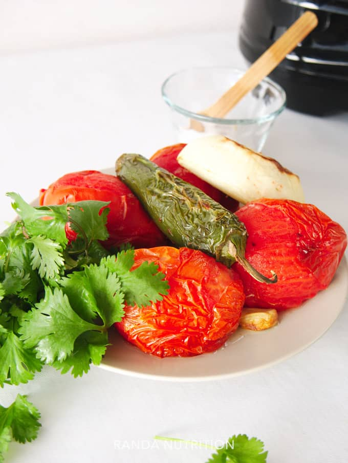 broiled vegetables for salsa made in an airfryer