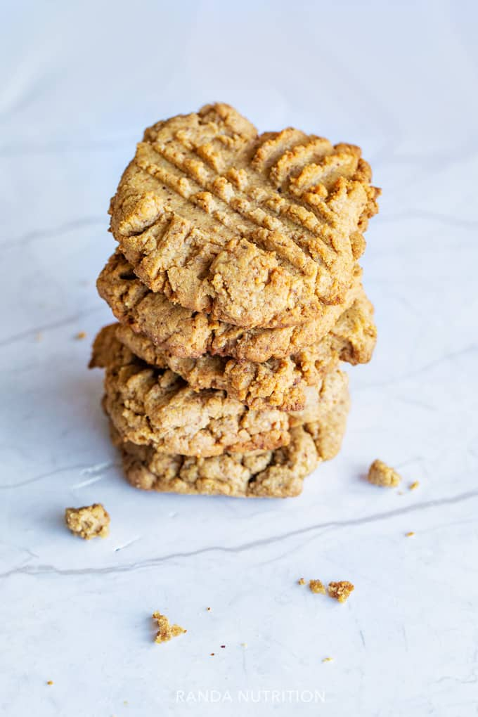 stacked gluten free cookies on a marble background