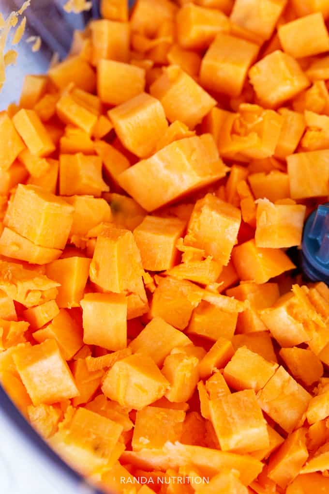 cubed sweet potatoes from the Cuisinart dicing attachment for the food processor