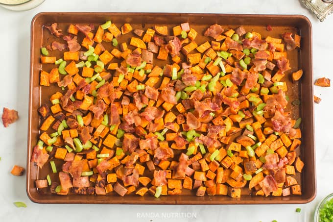 sweet potatoes, celery, bacon on a sheet pan