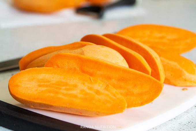 sweet potatoes sliced