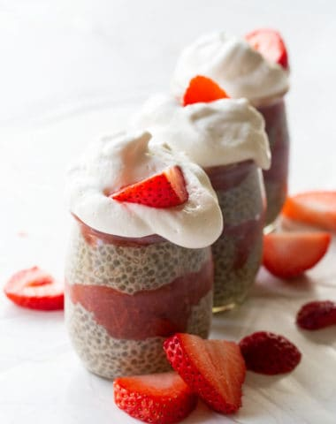 healthy strawberry rhubarb chia seed pudding recipe