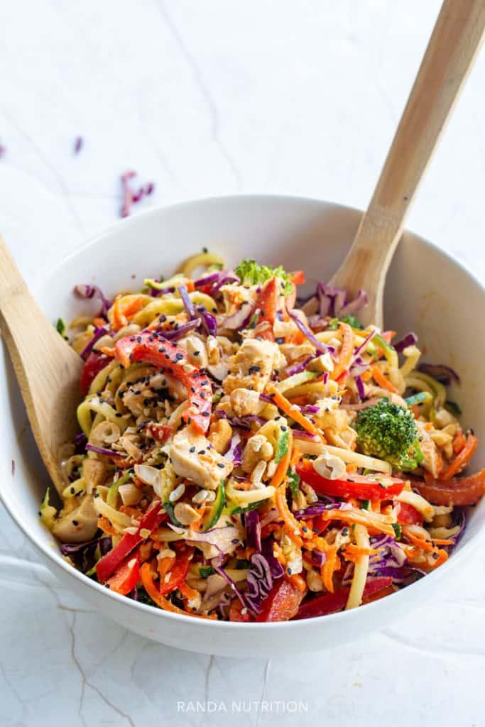 Thai Chicken Veggie Noodle Salad with Peanut Dressing
