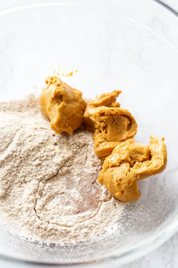 peanut butter ontop of protein powder before mixed together