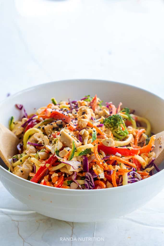 zoodle salad with peanut sauce