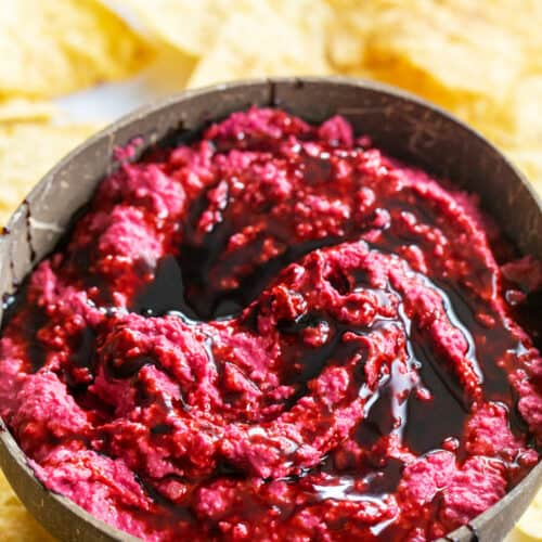 balsamic glaze swirled into roasted beet hummus