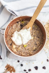 adding greek yogurt to oatmeal to give it more protein