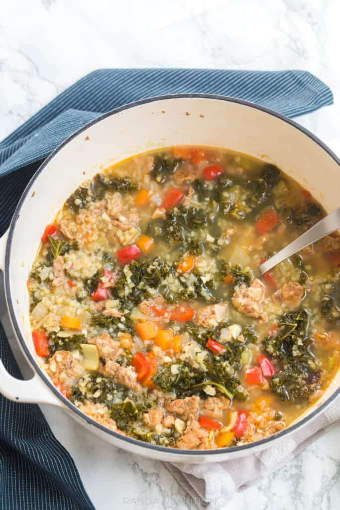 vegetable and sausage soup in a large dutch oven from amazon