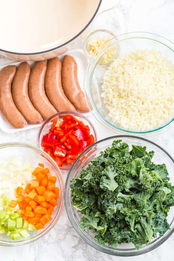 ingredients needed for sausage and kale soup