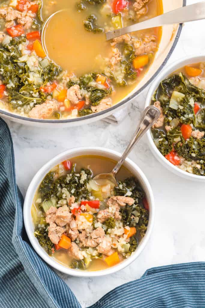 family style soup with a healthy recipe for kale and sausage soup
