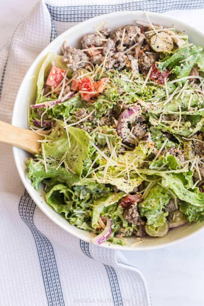low carb burger salad bowls