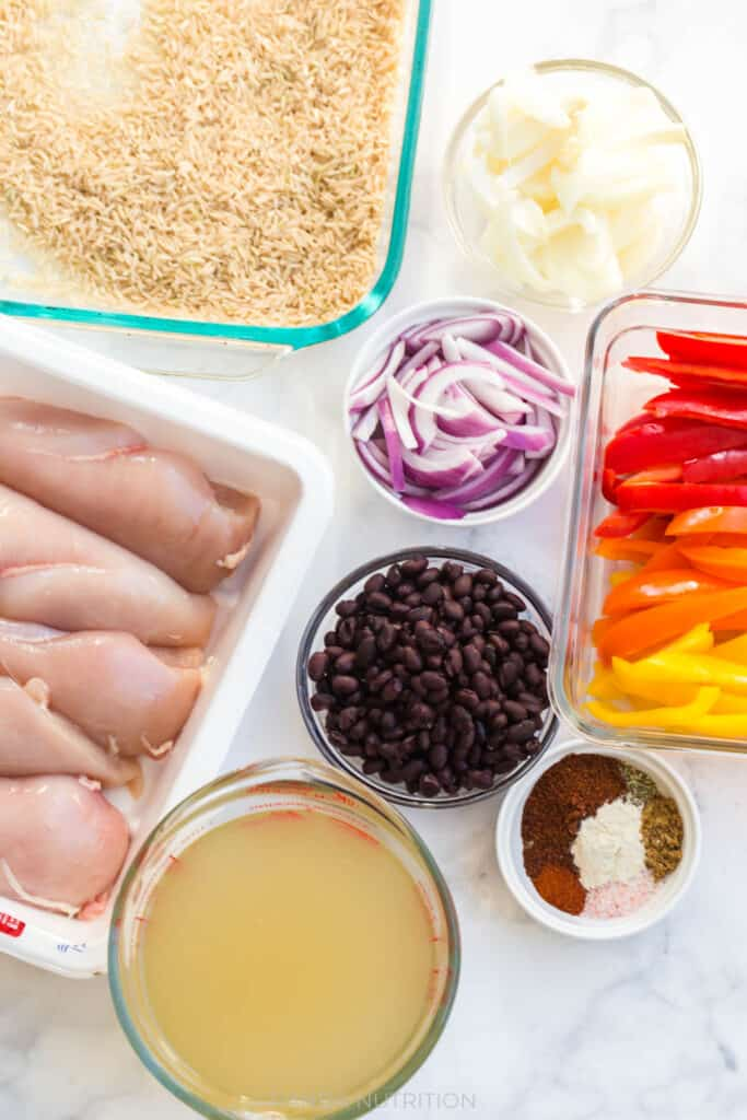 ingredients needed for a healthy fajita casserole