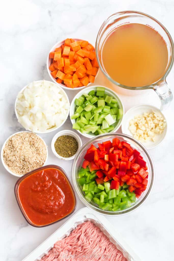 ingredients needed to make stuffed pepper soup
