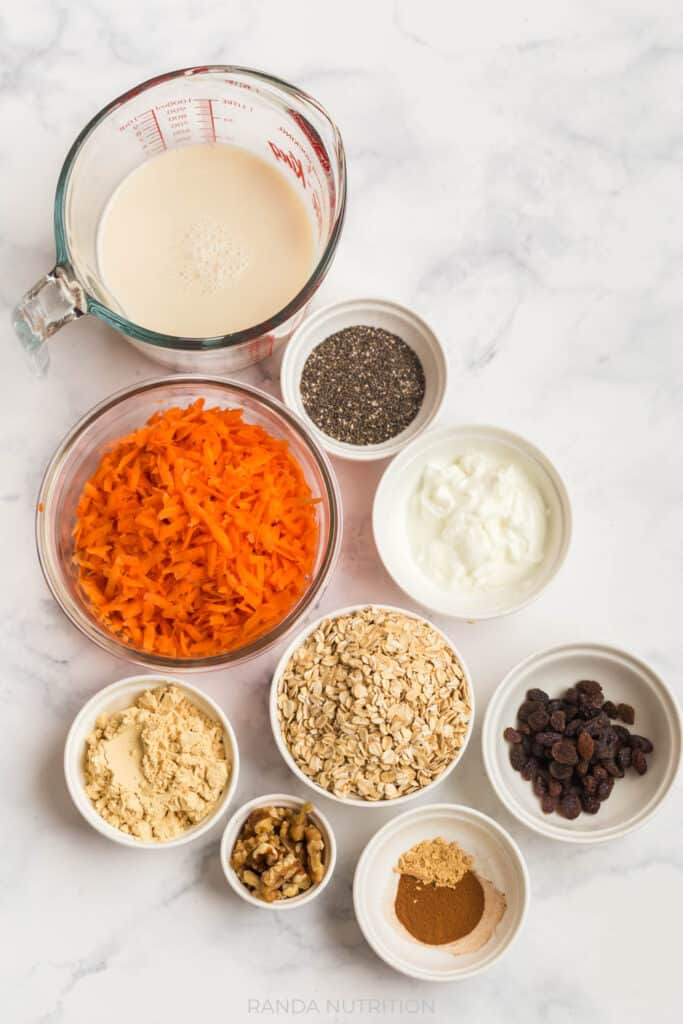 ingredients to make carrot cake oats
