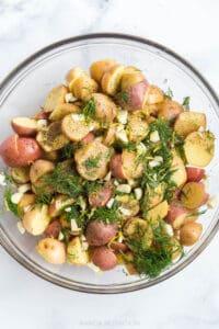lemon, dill, garlic and potatoes marinating