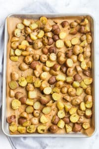roasted garlic potatoes fresh out of the oven