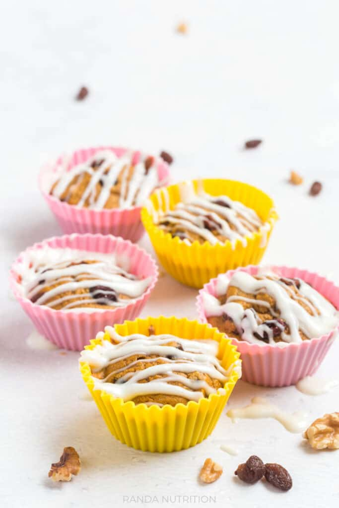 carrot cake muffins in colorful silicone wrappers