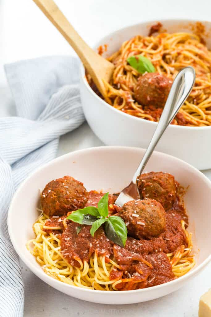 meatballs and spaghetti in a serving dish from Fable Home