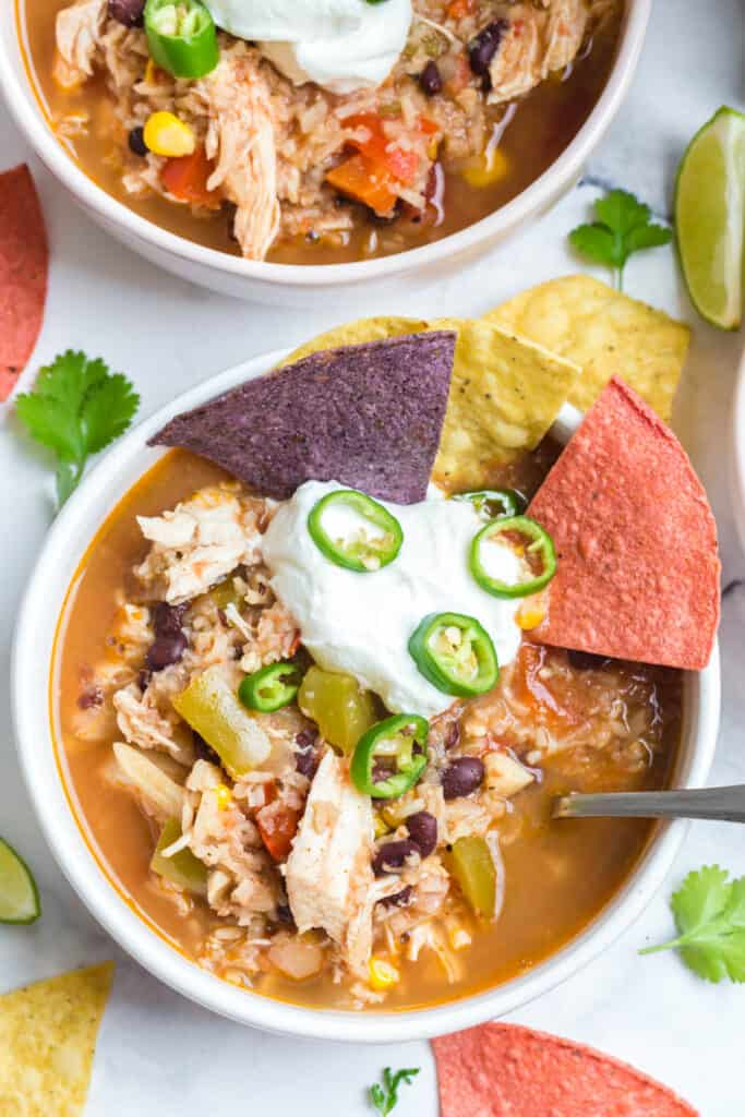 chicken tortilla soup with greek yogurt on top for added protein