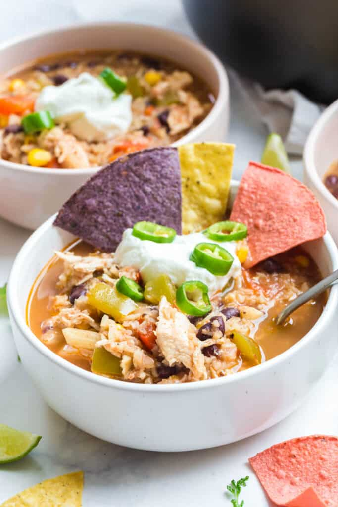 side view of cooked instant pot chicken soup